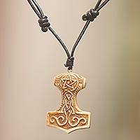 Bone pendant necklace, 'Star Tower' - Celtic Design Carved Bone Pendant Necklace on Leather Cord