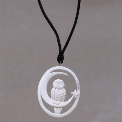 Bone pendant necklace, 'Magic Night' - Owl and Moon Bone Pendant Necklace Handmade in Bali