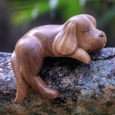 Wood sculpture, Sleepy Cocker Spaniel