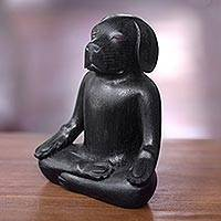 Wood sculpture, 'Black Yoga Beagle' - Carved Wood Black Beagle in Yoga Lotus Pose Sculpture