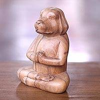 Wood sculpture, 'Meditating Puppy' - Brown Wood Puppy Sculpture in Whimsical Yoga Pose