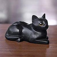 Wood sculpture, 'Stay Calm Black Cat' - Artisan Crafted Black Cat Sculpture from Indonesia