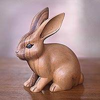 Wood sculpture, 'Cute Ginger Rabbit' - Fair Trade Hand Carved Wooden Rabbit Statuette