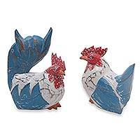 Wood statuettes, 'Chicken Gossip' (pair) - Rustic Hand Carved Colorful Chicken Statuettes (Pair)