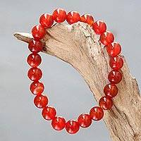 Carnelian beaded stretch bracelet, - Stretch Bracelet with Natural Carnelian beads from Bali