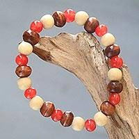 Beaded stretch bracelet, 'Red Connection' - Beaded Stretch Bracelet with Ceramic and Wood Beads