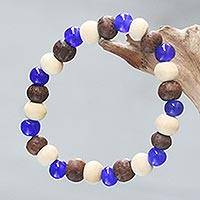 Beaded stretch bracelet, 'Blue Connection' - Handcrafted Stretch Bracelet with Ceramic and Wood Beads