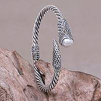 Cultured pearl bangle bracelet,