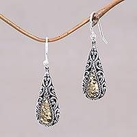Gold accented dangle earrings, 'Gold Rush' - 18k Gold Accented Sterling Silver Dangle Style Earrings