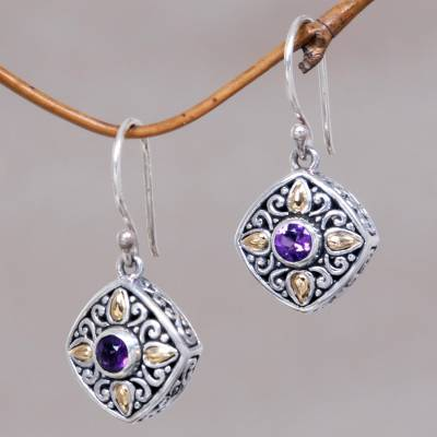 Gold accented amethyst dangle earrings, 'Gardenia' - Amethyst Dangle Earrings in Silver and Gold Settings