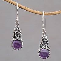 Amethyst dangle earrings, 'Sprout' - Amethyst Cabochon Earrings in Sterling Silver Settings