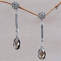 Smoky quartz dangle earrings, 'Gianyar Treasure' - Balinese Style Smoky Quartz and Silver Dangle Earrings