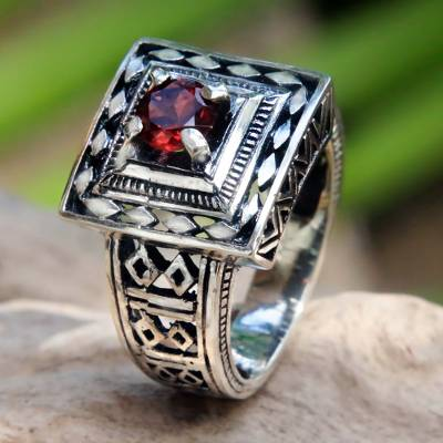 mens silver cuff - Artisan Crafted Engraved Sterling Silver and Garnet Ring