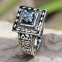Blue topaz cocktail ring, 'Ayung Terraces' - Artisan Crafted Blue Topaz and Sterling Silver Engraved Ring