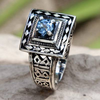 Artisan Crafted Blue Topaz and Sterling Silver Engraved Ring
