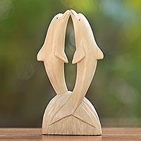Wood sculpture, 'Jumping Dolphins' - Natural Finish Hibiscus Wood Statuette of Jumping Dolphins