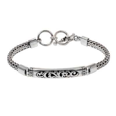 Stylized Fern Design Sterling Silver 925 Pendant Bracelet