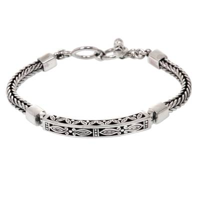 Handcrafted Delicate Braided Sterling Silver Floral Pendant Bracelet