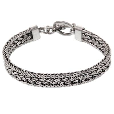 Balinese Braided Sterling Silver Bracelet with Toggle Clasp