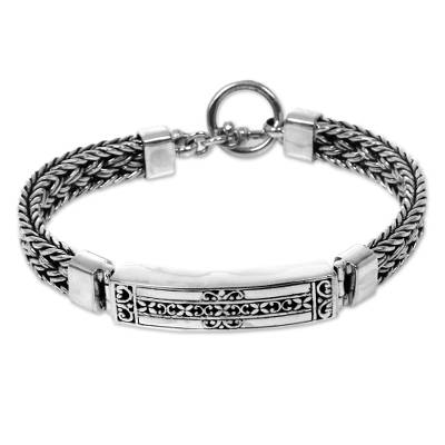 Artisan Crafted Balinese Sterling Silver Bracelet for Men