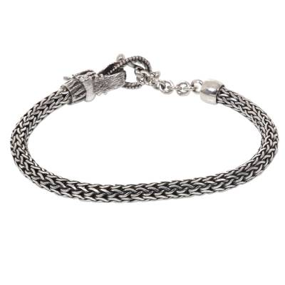 Sterling Silver Wheat Chain Bracelet with Dragon Head Clasp