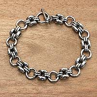 Sterling silver link bracelet, 'Cycle' - Artisan Crafted Sterling Silver Link Bracelet from Bali