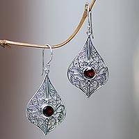 Garnet dangle earrings, 'Shine On' - Sterling Silver 925 Dangle Earrings with Faceted Garnets