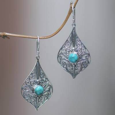 Sterling silver dangle earrings, 'Shine On' - Lacy 925 Silver Dangle Earrings with Reconstituted Turquoise