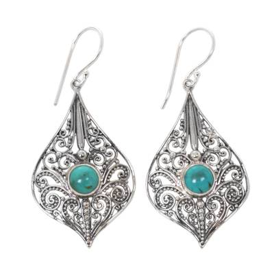 Lacy 925 Silver Dangle Earrings with Reconstituted Turquoise