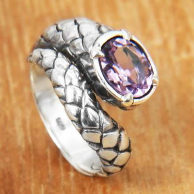 Amethyst ring, 'Snake Tail' - Amethyst and Sterling Silver Cocktail Ring with Snake Motif