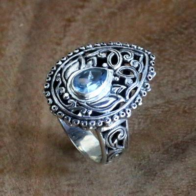 Blue Topaz and Sterling Silver Balinese Style Cocktail Ring