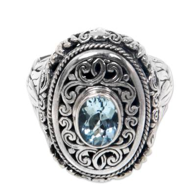 1.5 Carat Blue Topaz Cocktail Ring in Sterling Silver
