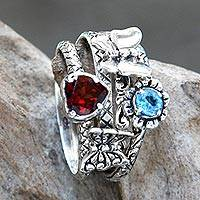 Garnet and blue topaz stacking rings, 'Heart of a Garden' (set of 4) - Romantic Stacking 4 Ring Set with Garnet and Blue Topaz
