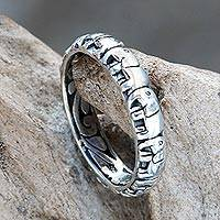 Sterling silver band ring, 'Elephant Trek' - Elephant Themed Band Ring Crafted from Sterling Silver