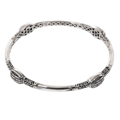 Handcrafted Balinese Bohemian Sterling Silver Bangle Bracelet