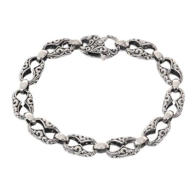 Hand Engraved Sterling Silver Link Bracelet from Bali