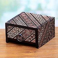 Wood batik jewelry box, 'Kotagede Batik' - Javanese Handmade Batik Wood Jewelry Box in Black and Red
