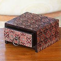 Wood batik jewelry box, 'Ceplok Wonosari I' - Wood Jewelry Box with Javanese Batik Designs from Indonesia