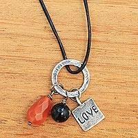 Carnelian and onyx pendant necklace, 'Love Glistens' - Carnelian Onyx and Sterling Silver Love Pendant Necklace