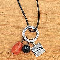 Carnelian and onyx pendant necklace,