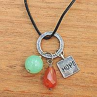 Carnelian and chalcedony pendant necklace, 'Hope Glistens' - Hope Pendant Necklace with Gems Silver and Leather
