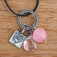 Rose quartz heart necklace, Inspiring Heart