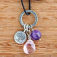 Rose quartz pendant necklace, 'Inspiring Banyan Tree' - Silver Tree Pendant Necklace with Rose Quartz and Amethyst