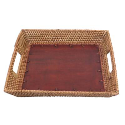 Hand Crafted Tray with Mahogany and Ate Grass from Bali