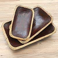 Decorative mahogany and bamboo trays, 'Lombok Brown' (set of 3) - Decorative Wood and Bamboo Baskets from Bali (Set of 3)