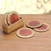 Natural fiber coasters and holder, 'Round Lombok' (set of 6) - Woven Grass Bamboo and Wood Round Coasters (Set of 6)