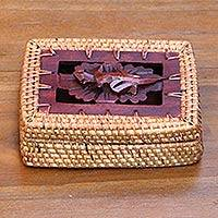 Natural fiber decorative box, 'Patient Gecko' - Artisan Crafted Bamboo and Mahogany Wood Balinese Box