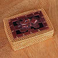 Natural fiber decorative box, 'Hopping Frog' - Handmade Rectangular Decorative Balinese Box with Frog