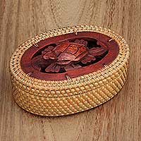 Natural wood and fiber decorative box, 'Sleeping Turtle' - Balinese Natural Fiber Decorative Box with Turtle Motif