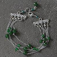 Quartz multi-strand station bracelet, 'Hijau' - Green Quartz Bead and Sterling Silver Multi-Strand Bracelet